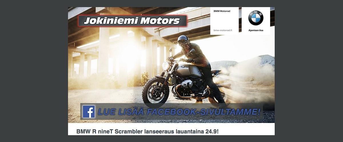 Jokiniemi-Motors Oy, Seinäjoki, Finland - BMW R nineT Scrambler uusi moottoripyörä ensiesittely first show 2016 - Moottoripyöriä, mönkijöitä, veneitä, vesijettejä, moottorikelkkoja, perämoottoreita, varaosia, ajovarusteita