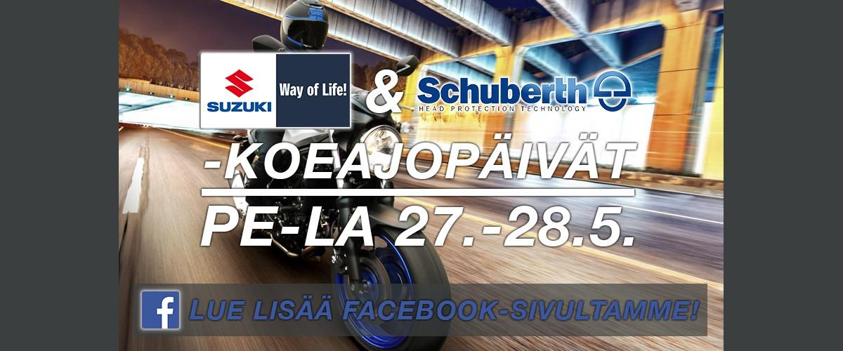 Suzuki-moottoripyörä koeajo 2016, Jokiniemi-Motors Oy, Seinäjoki - Suzuki GSX-S 1000 FA, SV650 A, DL 1000A, UK110 - Moottoripyöriä, mönkijöitä, veneitä, moottorikelkkoja, perämoottoreita, varaosia, ajovarusteita, Suomen suurin Duell-jälleenmyyjä
