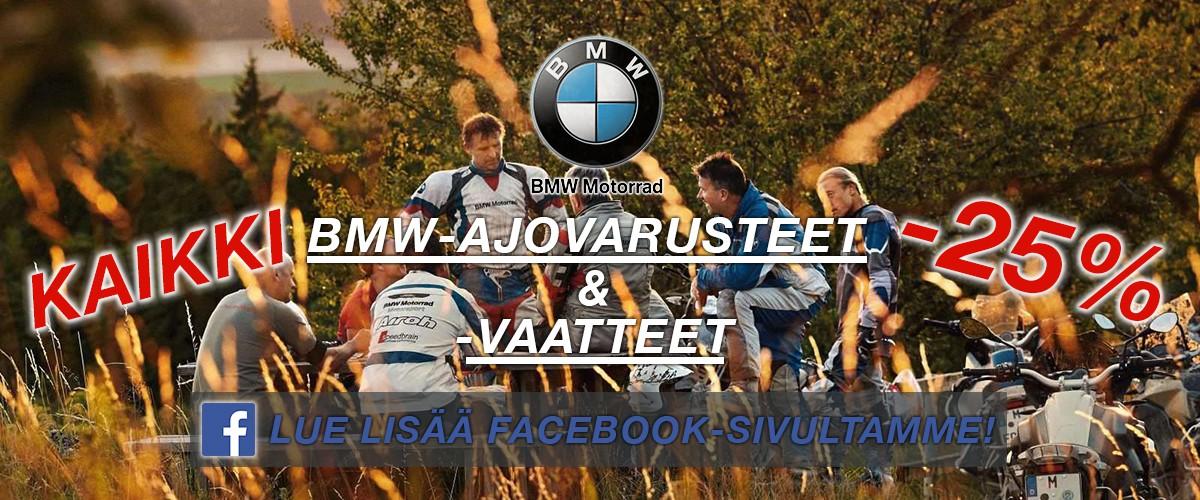 Jokiniemi-Motors Oy, Seinäjoki - Kaikki BMW-ajovarusteet ja -vapaa-ajan vaatteet tarjous -25% - Aprilia, BMW, Kawasaki, Suzuki, Yamaha - Moottoripyöriä, mönkijöitä, veneitä, vesijettejä, moottorikelkkoja, perämoottoreita, varaosia, ajovarusteita